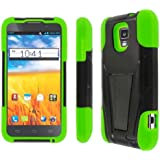 AT&T Z998 Case, MPERO IMPACT X Series Dual Layered Tough Durable Shock Absorbing Silicone Polycarbonate Hybrid Kickstand Case for Z998 [Perfect Fit & Precise Port Cut Outs] - Black / Neon Green