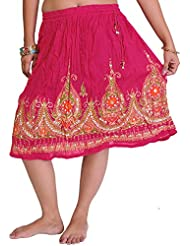 Exotic India Short Skirt With Printed Flowers And Embroidered Sequins