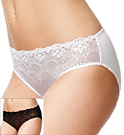 2 Pack Limited Collection Floral Embroidered High Leg Knickers