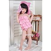 A-Y262  ピンク  Mサイズ(3-5歳) 帽子付き 女児水着 子供 水着 ラブリー  可愛い 女の子 みずぎ