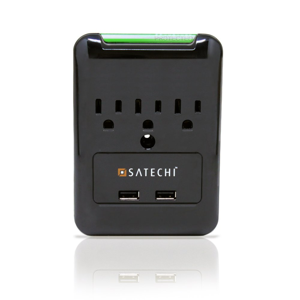 Satechi Slim Surge Protector Black (6 AC & 2 USB) 2.4 amp Output for Charging iPhone 6, 5S, 5C, 5, 4S, 4 iPad 1, 2 & 3, iPad Mini, Samsung Galaxy S5, S4, Tab 2, Blackberry Playbook, HTC Flyer