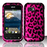 HOT PINK LEOPARD Hard Rubber Feel Plastic Design Case for LG myTouch Q C800 / Maxx Q (T-Mobile Slider Version)