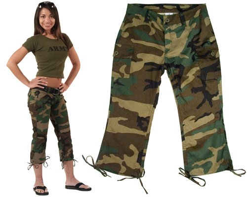 Woodland Military Camouflage Capri Pants for Women
