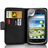 Fone-Case Huawei Ascend G300 Protective Executive PU Leather Wallet Case Cover With LCD Screen Protector Guard (Black)