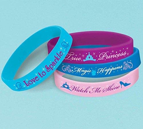 """Amscan Disney's Cinderella Rubber Bracelet, Light Blue/Violet/Blue/Pink, 2 1/2"""" x 7/16"""" - 1"""