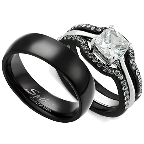 HIS & HERS 4PC BLACK STAINLESS STEEL WEDDING ENGAGEMENT RING & CLASSIC Band SET Women's Size 07 Men's 06mm Size 07