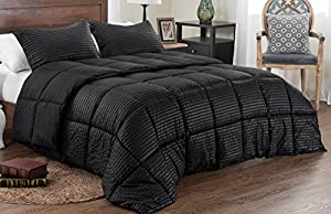 3pc Reversible Solid/ Emboss Striped Comforter Set- Oversized and Overfilled - 2 bedding looks in 1 - King-Black