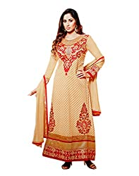Zerel Womens Georgette Straight Semi-Stitched Dress Material (Ze-757 _Beige)