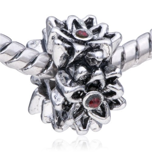 Pugster Bead Garnet Flower European Charm Bead Fits Pandora Bracelet
