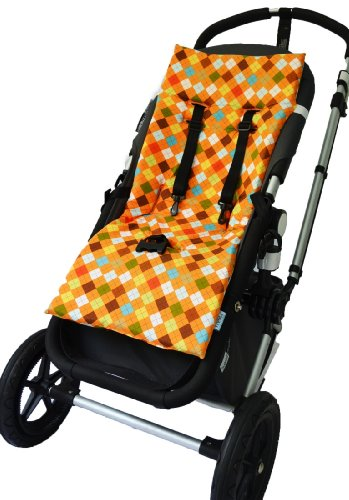 Tivoli Couture Nu Comfort Memory Foam Stroller Pad And Seat Liner, Argyle Orange front-281558