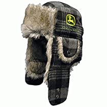 John Deere Buffalo Plaid Faux Fur Black/Gray Trapper Hat