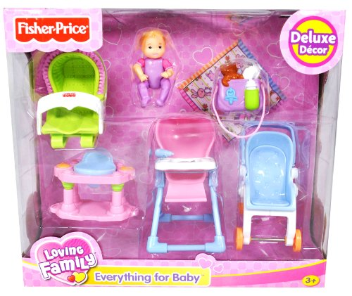 Fisher Price Loving Family Dollhouse Deluxe Decor Furniture Accessory Set - EVERYTHING FOR BABY with Stroller, High Chair, 4-Leg Bouncer, Rocker Seat, Diaper Bag, Blanket and Baby (Dollhouse Sold Separately)