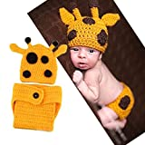 Foxnovo Cute Cartoon Giraffe Style Baby Infant Newborn Hand Knitted Crochet Hat Costume Baby Photograph Props Set