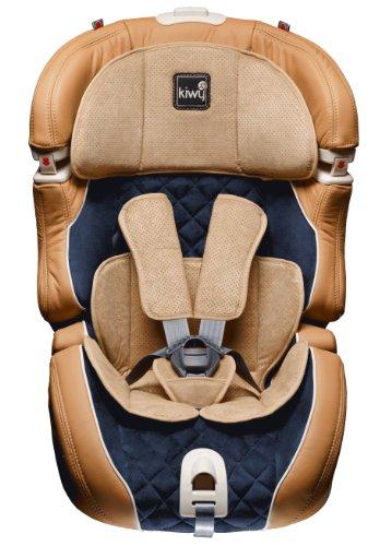 Kiwy 14103DL01B SLF123 DeLuxe - Seggiolino auto per bambini, in vera pelle con adattatore Q-Fix, lavorazione pregiata, colore: Beige/Blu