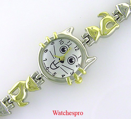 New Round Womens Silver Cat Stainless Bracelet Watch