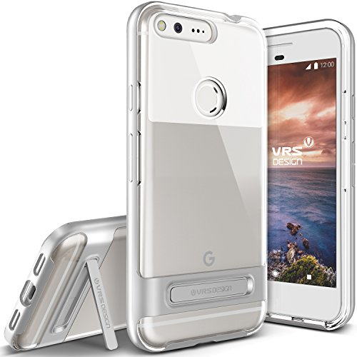 Google Pixel XL Case, VRS Design [Crystal Bumper Series] Clear Military Grade Protection with Metal Kickstand for Google Pixel XL 2016 - Satin Silver
