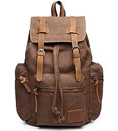 Faswin Vintage Unisex Canvas Leather Backpack Rucksack Satchel Hiking Bag Shoolbag Bookbag,Brown
