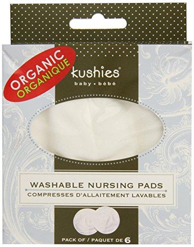 Kushies Baby Organic Washable Nursing Pads, White, 6 count