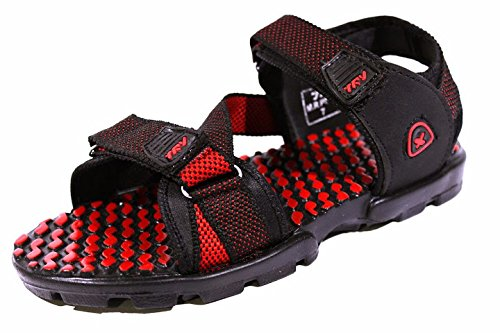 Red TRV Men's Red Fabric Sandals (Black)