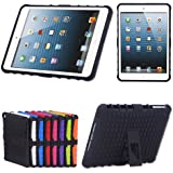 TKOOFN Heavy Duty Silicon Defender Multilayer Protective Skin Military Bumper Antislip Case Cover with Built in Stand for Apple iPad Mini (1st Gen) + Screen Protector + Stylus + Cleaning Cloth, Black - PT7000