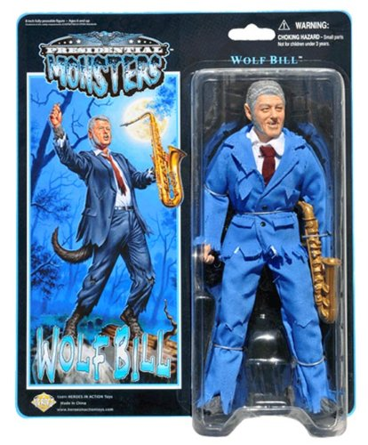 "Wolf Bill - Presidential Monsters - Bill Clinton as the Wolf Man - 8 1/2"" tall fully poseable action figure - with cloth costume and plastic saxophone"