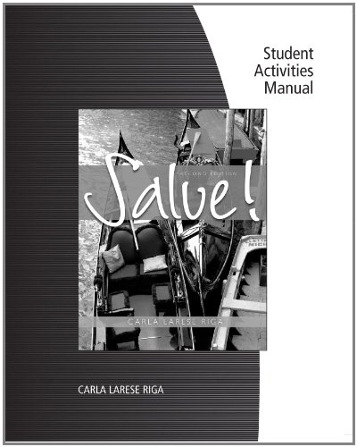 Student Activity Manual for Riga's Salve! (Salve Italian compare prices)