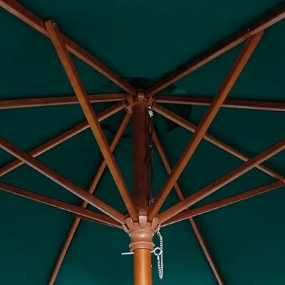 Siena Garden 119973 Sonnenschirm, Holzgestell Teakoptik, Durchmesser 270 cm, Bezug Polyester grün von Siena Garden bei Gartenmöbel von Du und Dein Garten