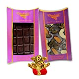Chocholik Belgium Chocolate Gifts - Bittersweet Combo Of Chocolate Bars With Small Ganesha Idol - Diwali Gifts