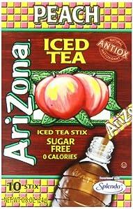 AriZona Peach Iced Tea Iced Tea Stix Sugar Free, 0.8-Ounce Boxes (Pack of 6) from AriZona