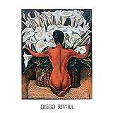 Diego Rivera - Desnudo con alcatraces Artistica di Stampa (71,12 x 91,44 cm)