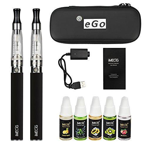 Imecig Sigaretta Elettronica Starter Kit | 2 x Sigaretta Elettronica CE4 + 5 x 10ml Set E Liquido Sigaretta Elettronica | Batteria Ricaricabile 1100 mAh | Senza Nicotina Né Tabacco