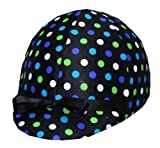 Equestrian Riding Helmet Cover Black - Blue & Green Polka Dots on Black