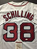 Autographed/Signed Curt Schilling Boston Red Sox White Baseball Jersey JSA COA