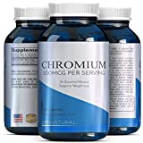 Chromium Picolinate Capsules - Weight Loss Metabolism - 200mcg Pills Metabolize Fat Carbs Protein + Support Insulin Function Healthy Cholesterol + Blood Sugar Levels - Trace Mineral