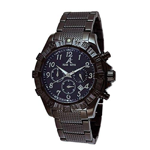 Adee Kaye Mens Chronograph Black Dial Band Watch AK7140-MIPB