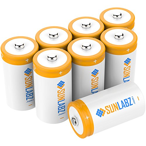 SunLabz D 5000mAh NiCD Rechargeable Batteries (8 Pack) (D Battery Rechargeable compare prices)