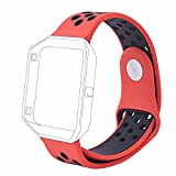 #9: J Small Bracelet Wristband , Soft Silicone Rubber Wrist Band Strap Belt for Fitbit Blaze Sport Watch Red Black (Small 6.2-7.6)