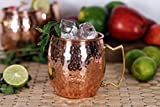 Premium Moscow Mule Copper Unlined Mug 100 % Pure Solid Copper (16-Ounce, Hammered) with FREE Shot Glass