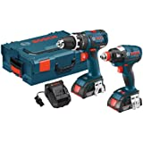Bosch CLPK250-181L 18-volt Lithium-Ion Brushless 2-Tool Kit with Hammer Drill/Driver, Socket Ready Impact Driver, 2 Batteries, Charger and L-BOXX-2