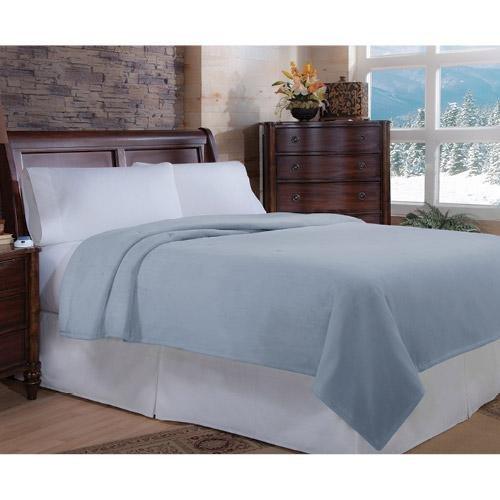 Soft Heat Luxurious Macromink Fleece Low-Voltage Electric Heated Blanket, Twin Size, Blue