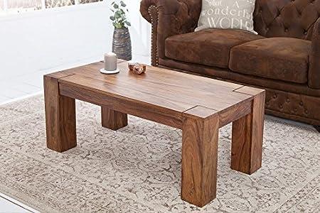 DuNord Design Couchtisch Holztisch Beistelltisch JAKARTA 100cm Sheesham Massivholz natur