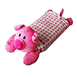 Baby\'s Buckwheat Hull Pillow with Cotton Pillow (1-3years) ( Pig, Pink )