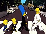 Imagenation The Simpsons - Abbey Road - Framed Canvas Art Print : Size - 25CM X 34CM X 3CM DEPTH / 10