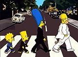 Imagenation The Simpsons - Abbey Road - Framed Canvas Art Print : Size - 25CM X 34CM X 3CM DEPTH / 10