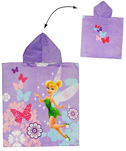 Badeponcho - Disney Fairies / Fairy - 60 cm * 120 cm - 4 bis 8 Jahre Poncho - mit Kapuze - Handtuch Strandtuch Baumwolle - Tinkerbell Schmetterling Blumen - Mädchen für Kinder Badehandtuch - Badetuch Frottee