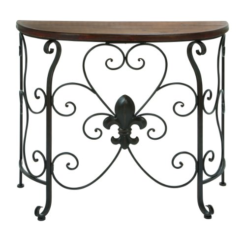 Cheap Wooden and Metal Console Table with Antiqued and Rusty Look (B009D4XXX0)