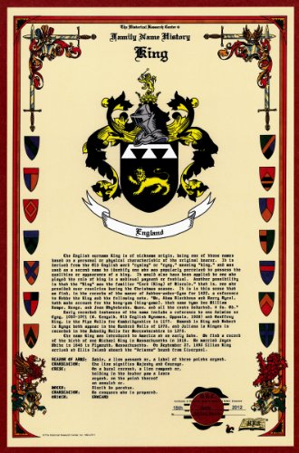 King Coat Of Arms/Crest And Family Name History, Meaning & Origin Plus Genealogy/Family Tree Research Aid To Help Find Clues To Ancestry, Roots, Namesakes And Ancestors Plus Many Other Surnames At The Historical Research Center Store