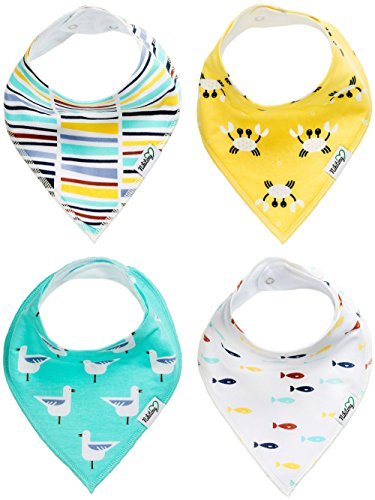 buy Nikitony Baby Bandana Drool Bibs - Super Soft With Adjustable Snaps - More Absorbent Than Cheap Single Layer Bibs - Cute Unisex Baby Shower Gift Set Of Ocean Style - 4 Pack for sale