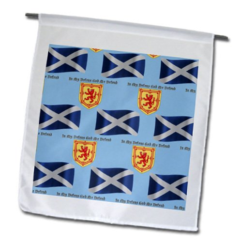 777Images Flags And Maps - Europe - Scotland Flag, Coat Of Arms And Motto Pattern On Light Blue Background - Flags - 12 X 18 Inch Garden Flag front-288541