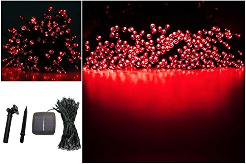 1Pc Hair-raising Modern 200x LED Solar Power Nightlight Xmas Props Home Decor Outdoor Lamp Colors Red